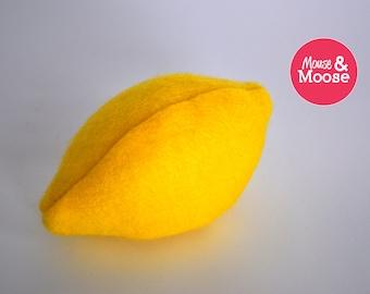 Eco Friendly 100% Wool pretend felt lemon for play kitchens, play food and wool felt play food, felt lemon, pretend play