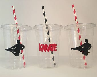 karate Party Cups, Karate Birthday Party Cups, Karate Party Favors