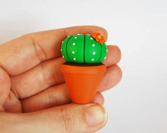 Magnet Cactus Succulent fimo-orange flower