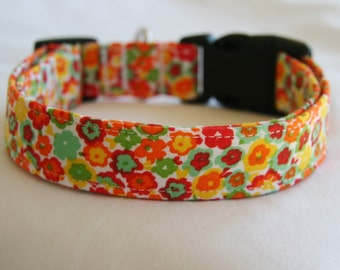 Dog Collar-Calico-Shades of Mint-Orange-Red-Yellow-Tiny Floral Adjustable Small to Large Breed Dog-5/8- 1 inch 1.5 -2 inch width