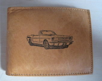 """Mankind Wallets Men's Leather RFID Blocking Billfold w/ """"1965 Ford Mustang Convertible"""" Image~Makes a Great Gift!"""