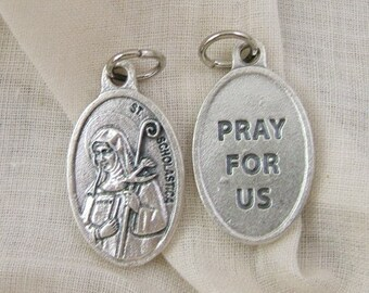 1 St Scholastica Medal - Patron Saint of Education and is Invoked Against Rains and Storms - Twin Sister of St Benedict     (JWL-R)