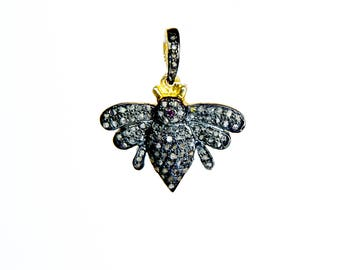 Queen Bee - Pave Diamond Pendant Charm - Ruby Pendant Charm - 925 Sterling Silver - Honey Bee Charm - 18K Gold Plating - Bee Pendant