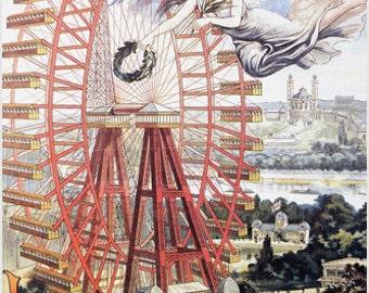 Vintage Affiche Grande Roue Paris Vintage Poster Ferris Wheel Colorful New 24x36