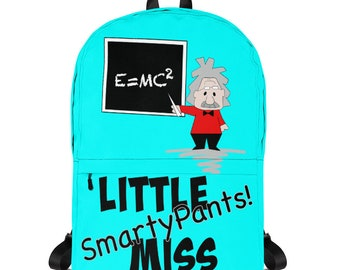 Smarty Pants Backpack. Little Miss Smarty Pants Bag, Albert Einstein School Backpack for Girls, Science Lover Gifts, Girls Name Backpack