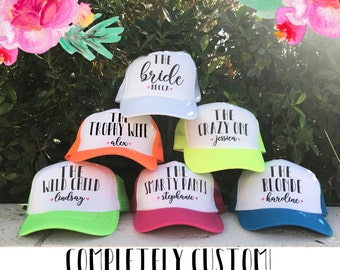 NEON Bachelorette Party Hat / TOTALLY CUSTOMIZABLE / Name and Funny Personality / 10 colors / Great for Vegas Miami Mexico Pool Parties