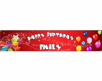 Birthday Red Vinyl Banner Single Sided with Grommets