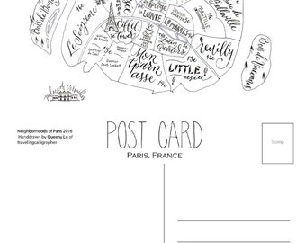 Paris Neighborhood Map: 4x6 Post Card (Pack of 5)