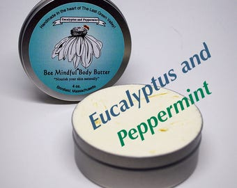 Bee Mindful Body Butter, Peppermint Body Butter, Eucalyptus Peppermint Body Butter, Body Butter, Natural Body Butter, Shea Body Butter