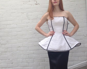1980s Dress VIntage Victor Costa White Black Formal Sculpted Gown