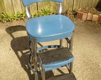 Cosco step stool - ladder -  classic midcentury form in good condition - ladder moves smoothly - original blue paint and seat cover