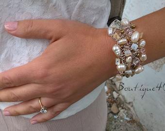 pearl bracelet, fresh water pearls, wedding, romantic, pearls bracelet, genuine