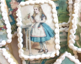 Edible Classic Alice in Wonderland Wafer Rice Paper Illustrations Birthday Cookie Toppers Wedding Cake Decorations Afternoon Tea Party RTD