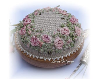 Silk Ribbon Embroidery - PP13 Roses & Pearls Vintage pink