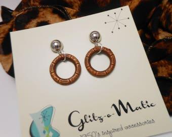 1950s style tiki hoop earrings smaller size glitzomatic glitz-o-matic