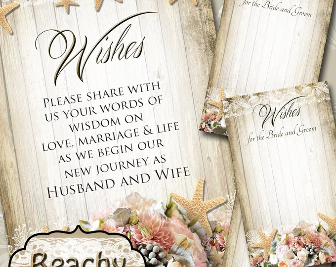 BEACHY• Set of Wedding Wish Sign and Tags•Wish Tree Cards•Wedding Wish Tags•Wish Tags•Bridal Shower•Wedding Shower•Country Wedding