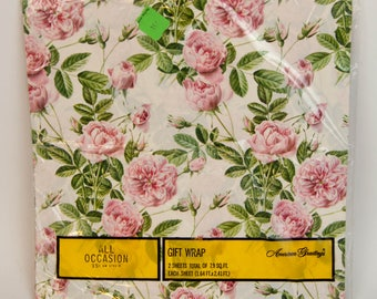1970s American Grettings All Occassion Pink & Green Rose Flower Floral Gift Wrap Sheets Vintage Girls Wrapping Paper NOS New in Package