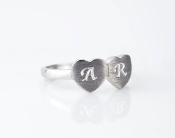 Double Heart ring, Promise Ring, Valentines day gift for her, Two Hearts Love Ring, Sterling Silver Romantic Ring initial ring engraved ring