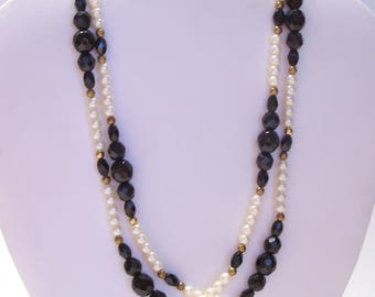 Black Glass Faceted Bead and Faux Pearl Necklace 32 Inches