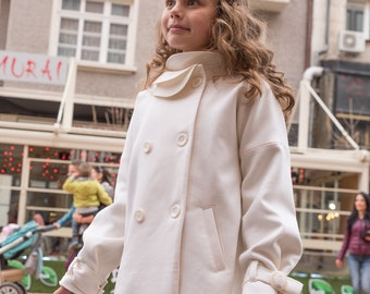 White wool coat for girls, Toddler ruffle collar coat, Kids loose fit double breasted coat, Children stylish winter outfit, Warm clothing