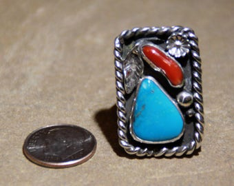 Sleeping Beauty Turquoise and Mediteranean Coral Ring