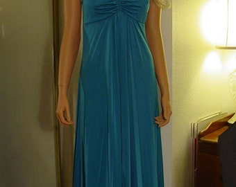 1970s Deep Rich Aqua Blue Jersey Halter Maxi Dress Excellent Condition