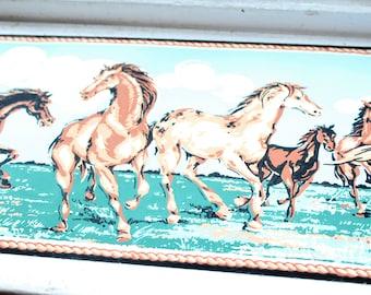 """Vintage 1950s Western Wallpaper Border Horses Unused Wall Paper 6"""""""