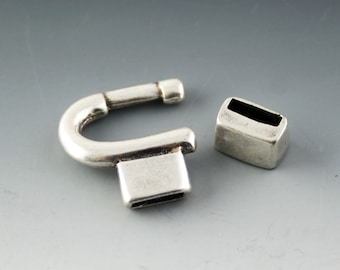 Silver LOOP and SLIDE Leather Clasp / Leather Closure for 10mm leather or 5mm leather / 1 set / Jewelry Supplies