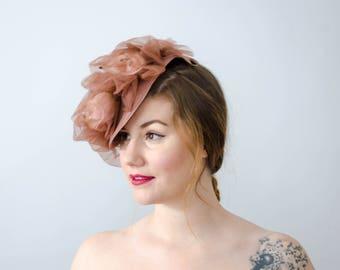 1940s hat | blush pink hat | pink straw tilt hat | floral tilt hat | easter hat | 1940s floral hat | 1940s tilt hat | pink tilt hat