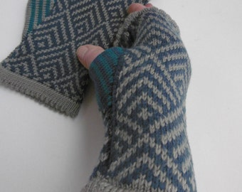 fingerless gloves, wrist warmer, Merino wool, grey, green, jade, original, machine washable, fair isle,  geometric pattern, warm, cosy,