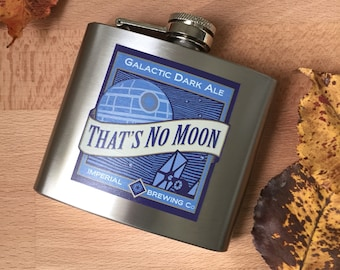 Star Wars Flask, That's No Moon Empire Design, Stainless Steel, 5oz
