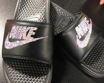 Nike slides with swarovski crystals