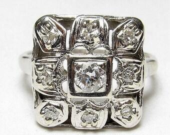 Art Deco Engagement Ring .33ct Old European Cut Diamond Unique Engagement Ring Vintage Engagement Ring Antique Engagement 14k White Gold