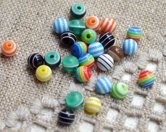 100pcs Bead Acrylic Mixed Striped Colors 6mm Round Plastic