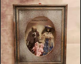Victorian momento mori style Family Portrait shadow box skeleton family ooak macabre gift