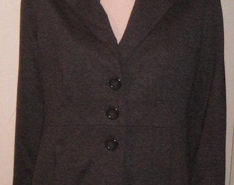 WOMEN'S Ladies FASHION Brand JESSICA Grey Long Coat Jacket Sz 12