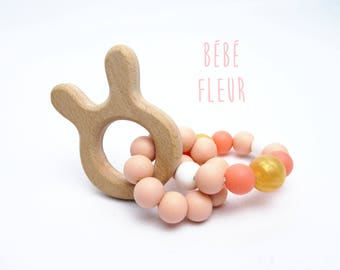 Rabbit and coral teething ring, gripping rattle, birth gift