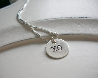 Valentines Day A Little Love Goes A Long Way  XO, Hugs and Kisses Tiny Charm Necklace
