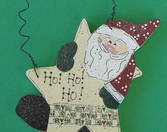 Wood Santa ornament Ho Ho Ho