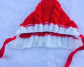 Valentine hat, baby knit pixie hat, Valentine knit hat