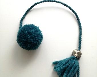 Acrylic yarn bookmark with handmade pom pom and tassel