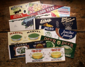 Vintage Fruit and Vegetable Can Labels - New Old Stock - Kitchen Ephemera