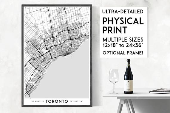Every road in toronto print physical toronto map print gumiabroncs Choice Image