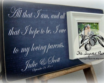 Wedding Thank You, Parents of the Bride Gift, Parents of the Groom Gift, Parent Thank You, Mother of the Bride, Father of the Bride, 8x20