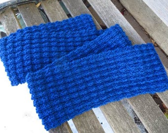 Royal Blue Knit Scarf, Hand Knit Wool Blend Scarf, 72 inches, Knitted Mens Scarf, Womens Scarf