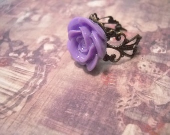 Lila Rose Ring Blume Ring, verstellbarer Ring Bronze filigrane Ring Bronze Ring lila Blumenring