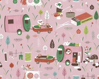 COTTON FABRIC Campers in Pink - 'Mouse Camp' by Windham Fabrics 100% premium cotton