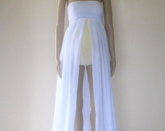 Off White Chiffon Strapless Maternity Gown