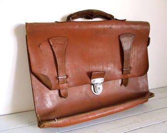 Vintage Leather Briefcase, French Leather Satchel, Leather Satchel, Vintage Briefcase, Vintage Satchel, Messenger Bag, French Leather Bag