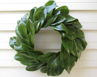 "Green Magnolia Leaf Wreath Large 20"" Size Fresh to Dry, Natural Floral Wedding, Craft or Home Decorating, Spring,  Farmhouse"